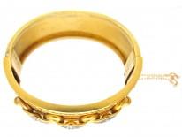 Victorian 18ct Gold Diamond & Enamel Bangle