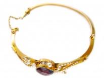 15ct Gold Amethyst & Natural Split Pearls Bangle