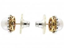 Platinum & 18ct Gold Pearl & Diamond Cluster Earrings