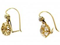 18ct Gold Diamond Drop Cluster Earrings