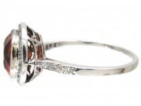 Hessanite & Diamond Edwardian Cluster Ring