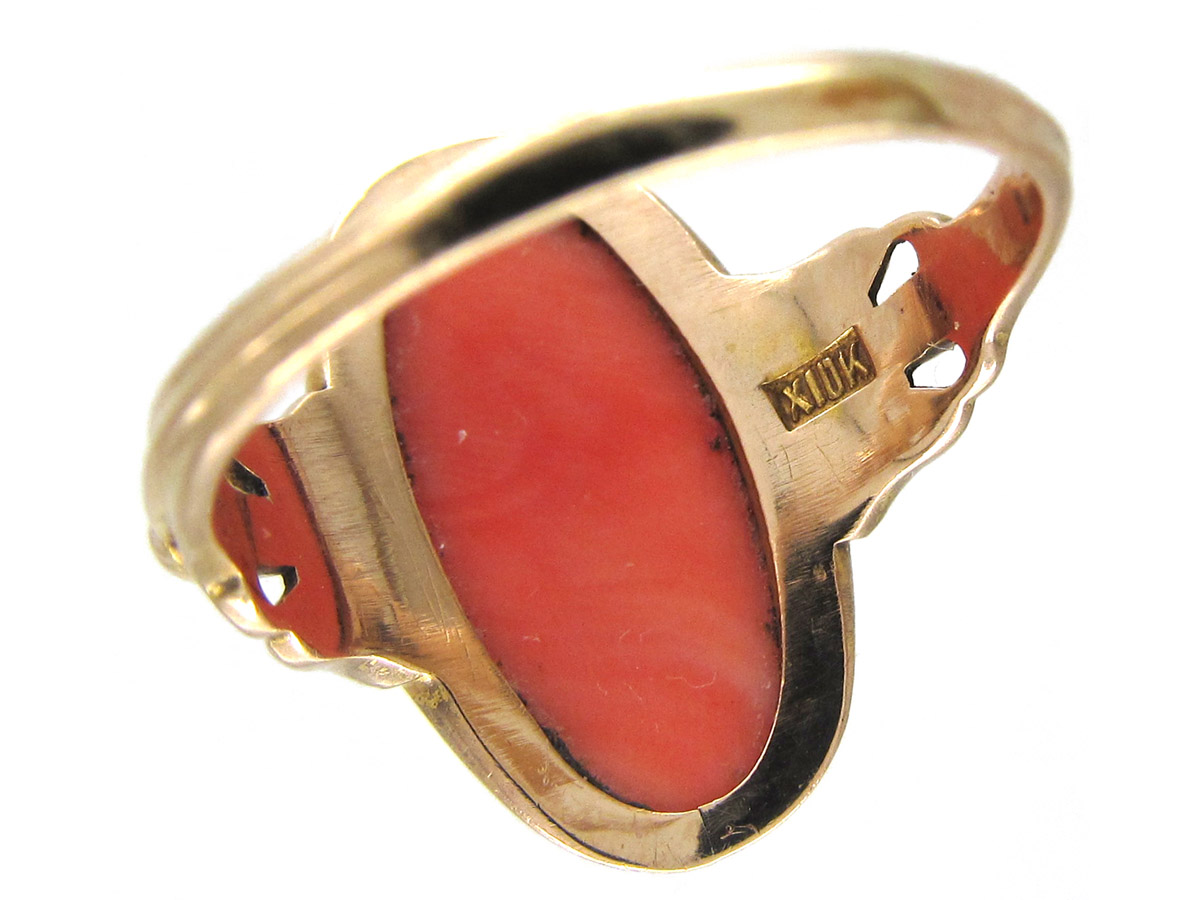 Art Nouveau Gold & Carved Coral Egyptian Revival Ring