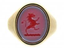 Lion Carnelian Intaglio 9ct Gold Signet Ring