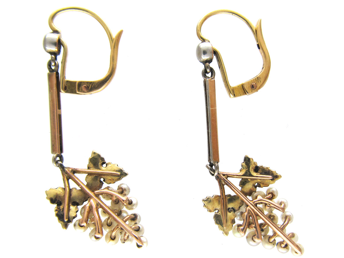 Edwardian 15ct Gold, Platinum & Natural Pearl Grape Drop Earrings