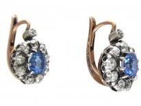 Edwardian Sapphire & Diamond Cluster Earrings