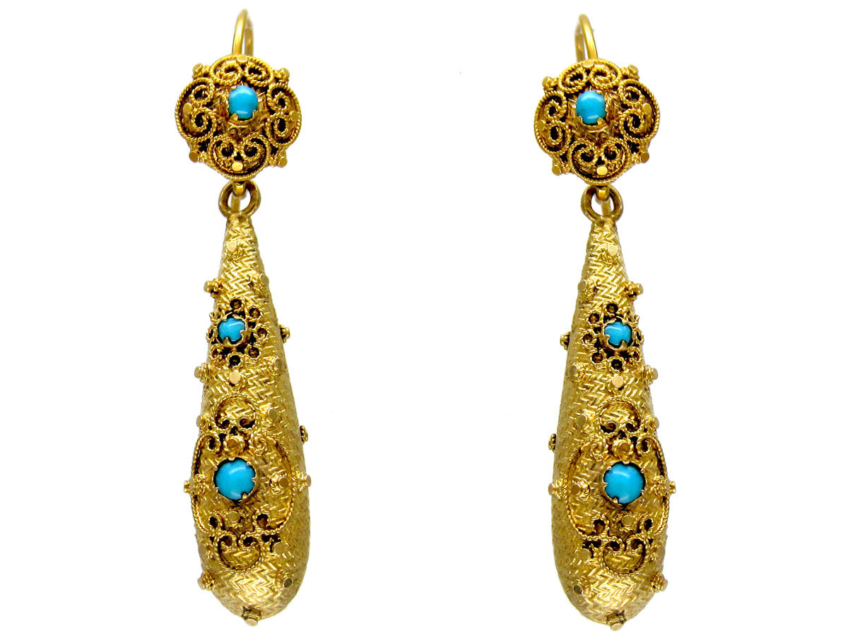 Gold Georgian Turquoise Set Drop Earrings