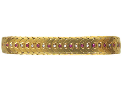Edwardian 18ct Gold Ruby & Diamond Overlap Design Bracelet
