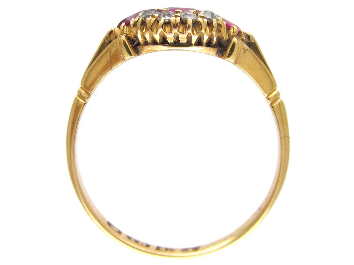 Edwardian Three Stone Ruby & Diamond Ring