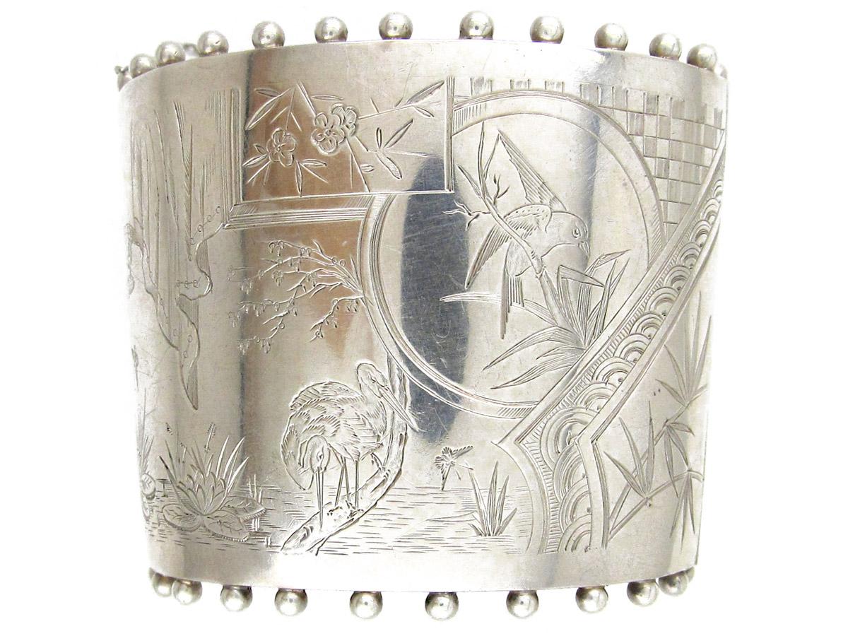 Aesthetic Period Silver Victorian Cuff Bangle