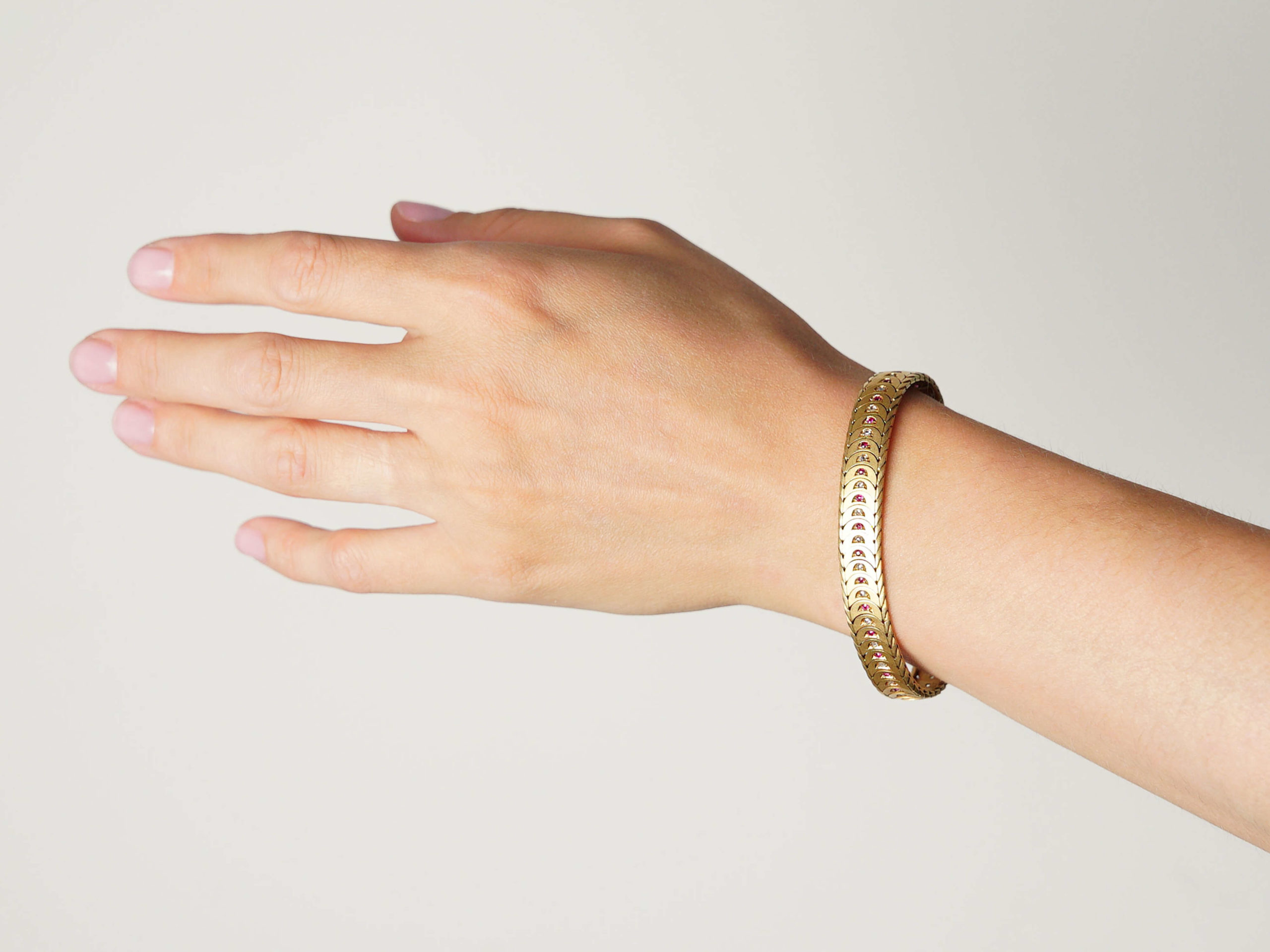 Edwardian 18ct Gold Ruby & Diamond Overlap Design Bracelet