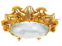 Large Aquamarine 18ct Gold Regency Brooch