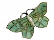 Silver & Green Enamel Butterfly Brooch