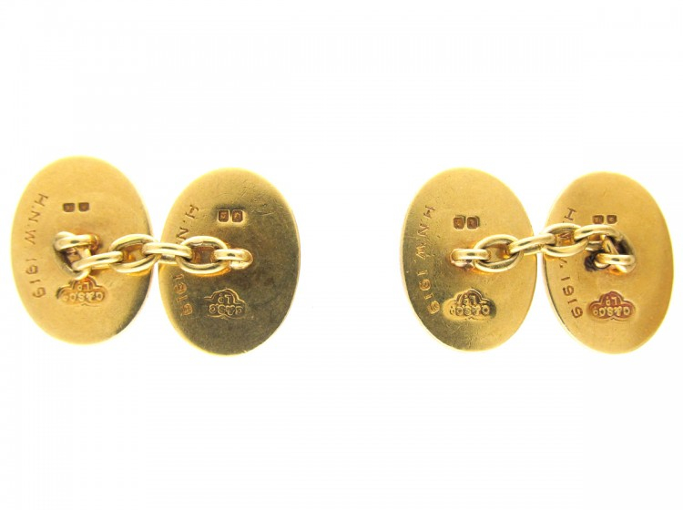 Goldsmiths & Silversmiths Company 18ct Gold Engine Turned Cufflinks