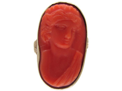 Neoclassical Carved Coral Ring