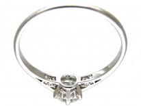 Art Deco Solitaire Diamond Ring with Diamond Baguette Shoulders
