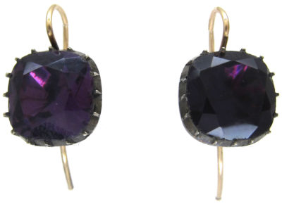 Georgian Amethyst Paste Earrings