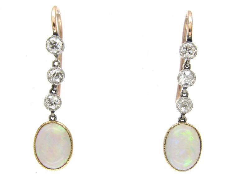 Edwardian Opal & Diamond Drop Earrings