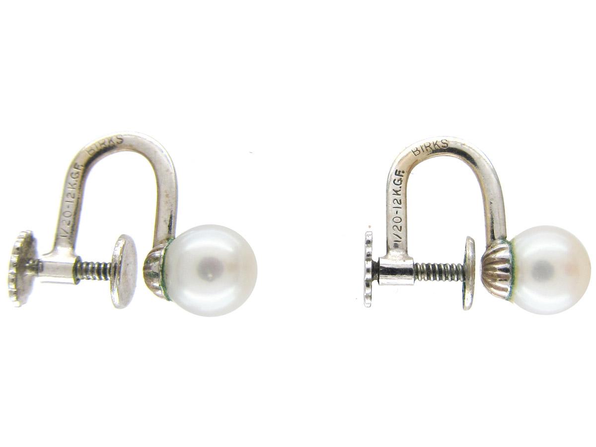 Pearl Screw on Earrings by Birks of Canada
