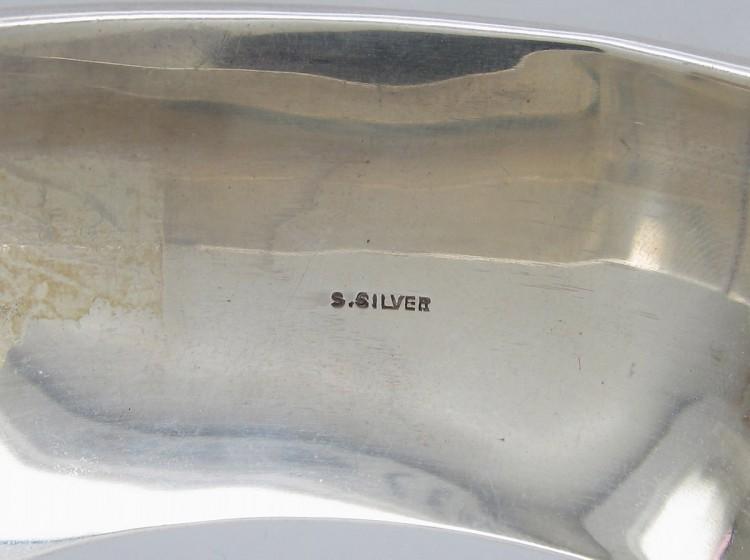 Wide Silver Engraved Leaf Design Bangle
