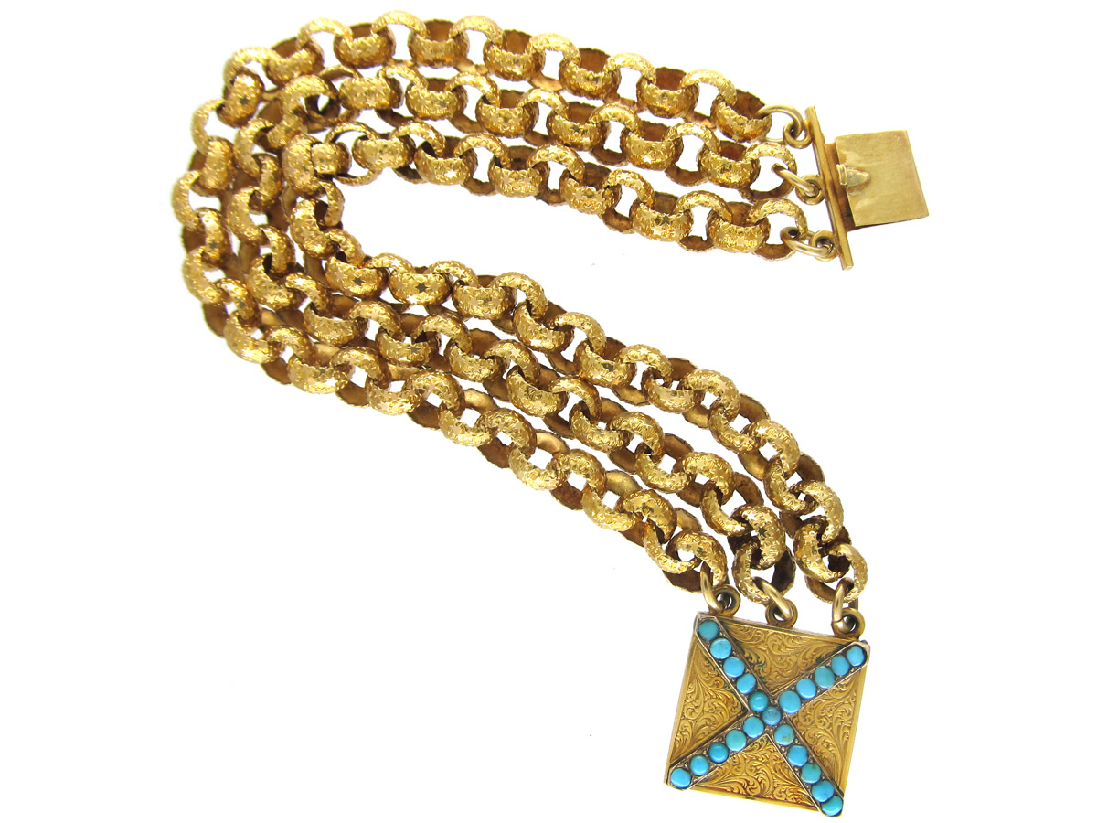 Georgian 18ct Gold Bracelet with Turquoise Set Clasp