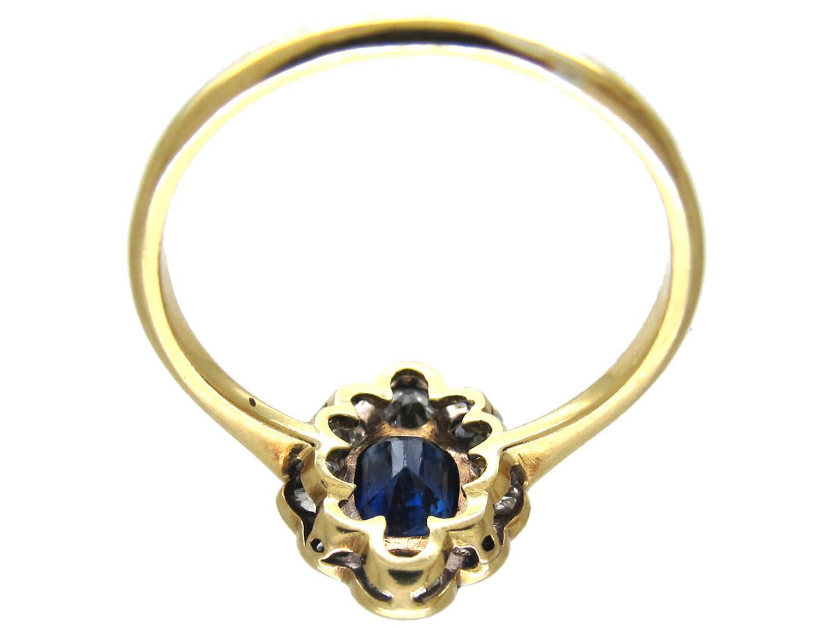 Edwardian Sapphire & Diamond Cluster Ring