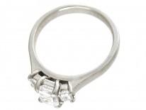 Platinum Three Stone Baguette Cut Diamond Ring