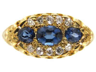Edwardian Sapphire & Diamond Boat Shaped Ring