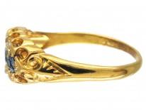 Edwardian Sapphire & Diamond Boat Shaped Ring