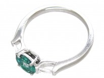 Emerald & Diamond Cluster Ring with Baguette Diamond Sides