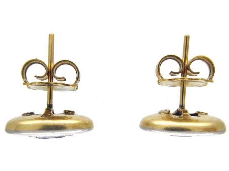 Ceylon Sapphire 18ct Gold & Platinum Earrings