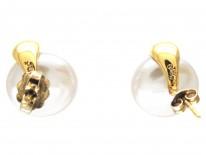 Round Pearl & Diamond Earrings