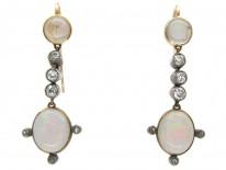Water Opal & Diamond Drop Edwardian Earrings