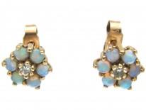 Small Opal & Diamond Cluster Earrings