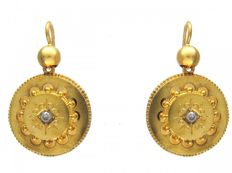 Victorian 15ct Gold & Diamond Round Etruscan Style Earrings