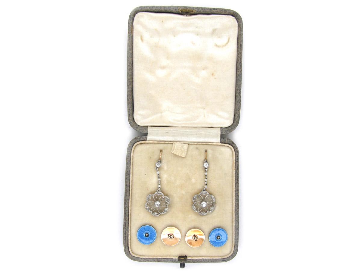 Edwardian Diamond Platinum, Pearl & Enamel Earrings in Original Case