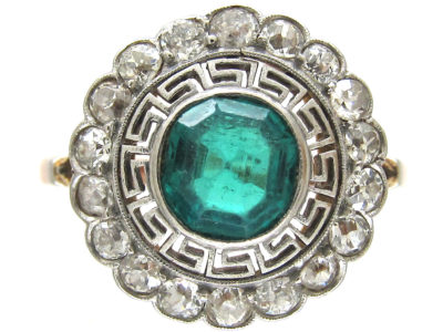 Art Deco Emerald & Diamond Target Ring with Key Design Detail