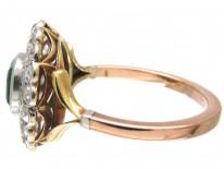 Art Deco Emerald & Diamond Target Ring with Key Design Detail