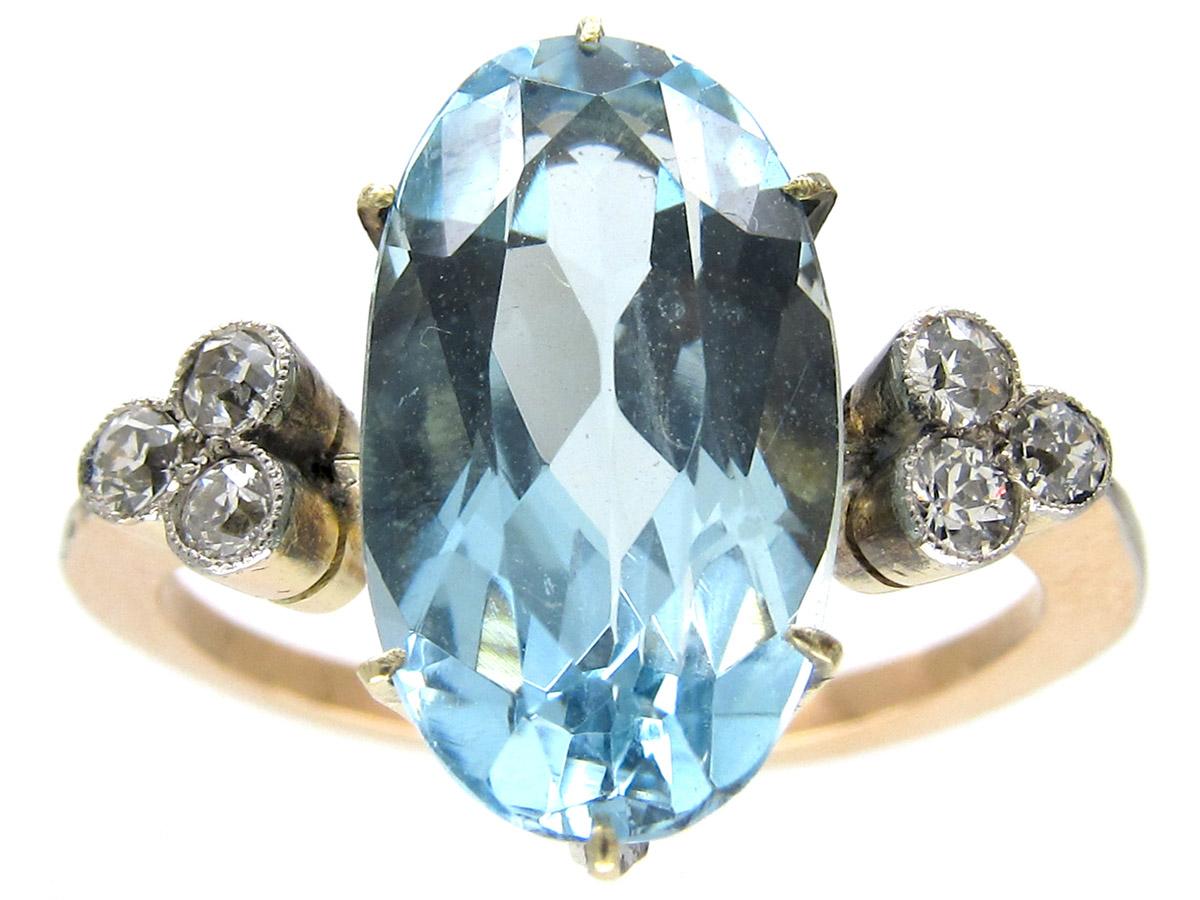 Edwardian Aquamarine & Diamond Ring