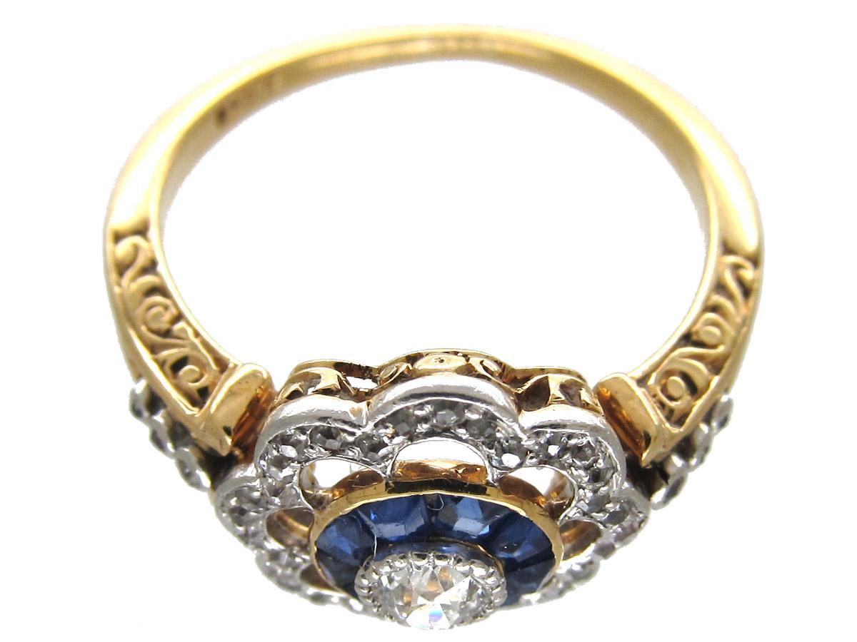 Art Deco Diamond & Sapphire Target Ring