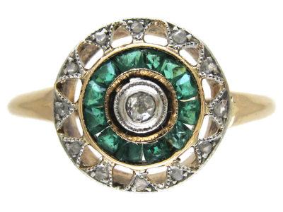 Art Deco Emerald & Diamond Target Ring
