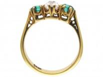 Victorian Emerald & Diamond Three Stone Ring