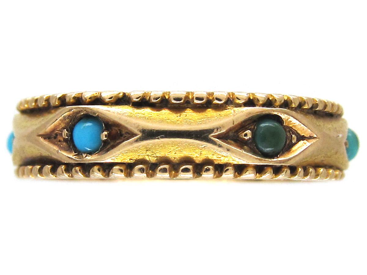 Turquoise Set 15ct Gold Band Ring