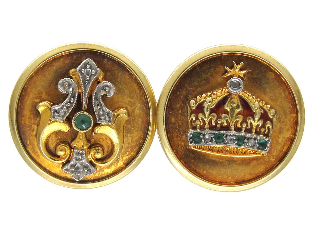 Gold Crown Cufflinks