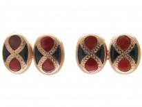 Victorian Scottish 9ct Gold Bloodstone & Jasper Cufflinks