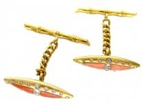 Victorian 18ct Gold Coral & Diamond Cufflinks