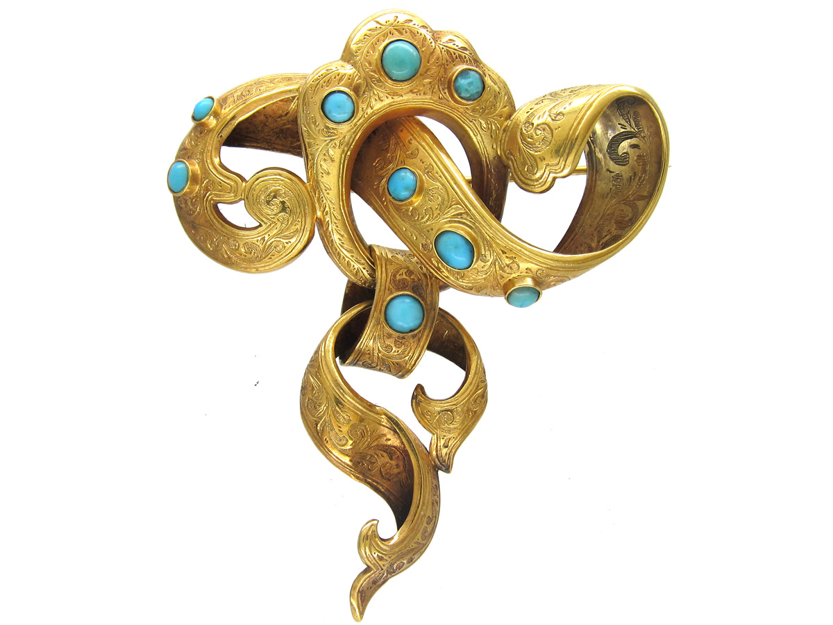 Victorian Large 18ct Gold & Turquoise Knot Brooch