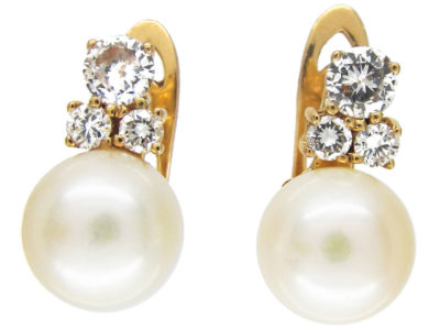 Pearl ​& Diamond Clip ​& Post Earrings