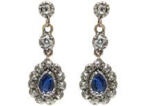 Georgian Sapphire & Diamond Drop Earrings