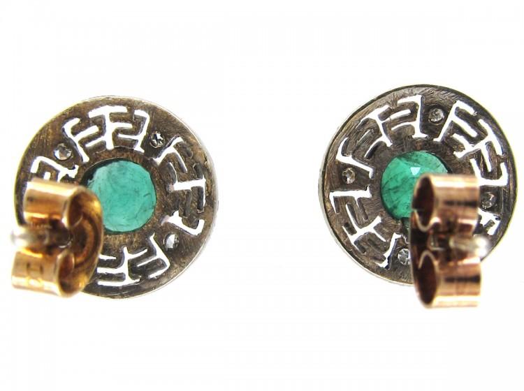 Emerald & Diamond Round Key Design Earrings