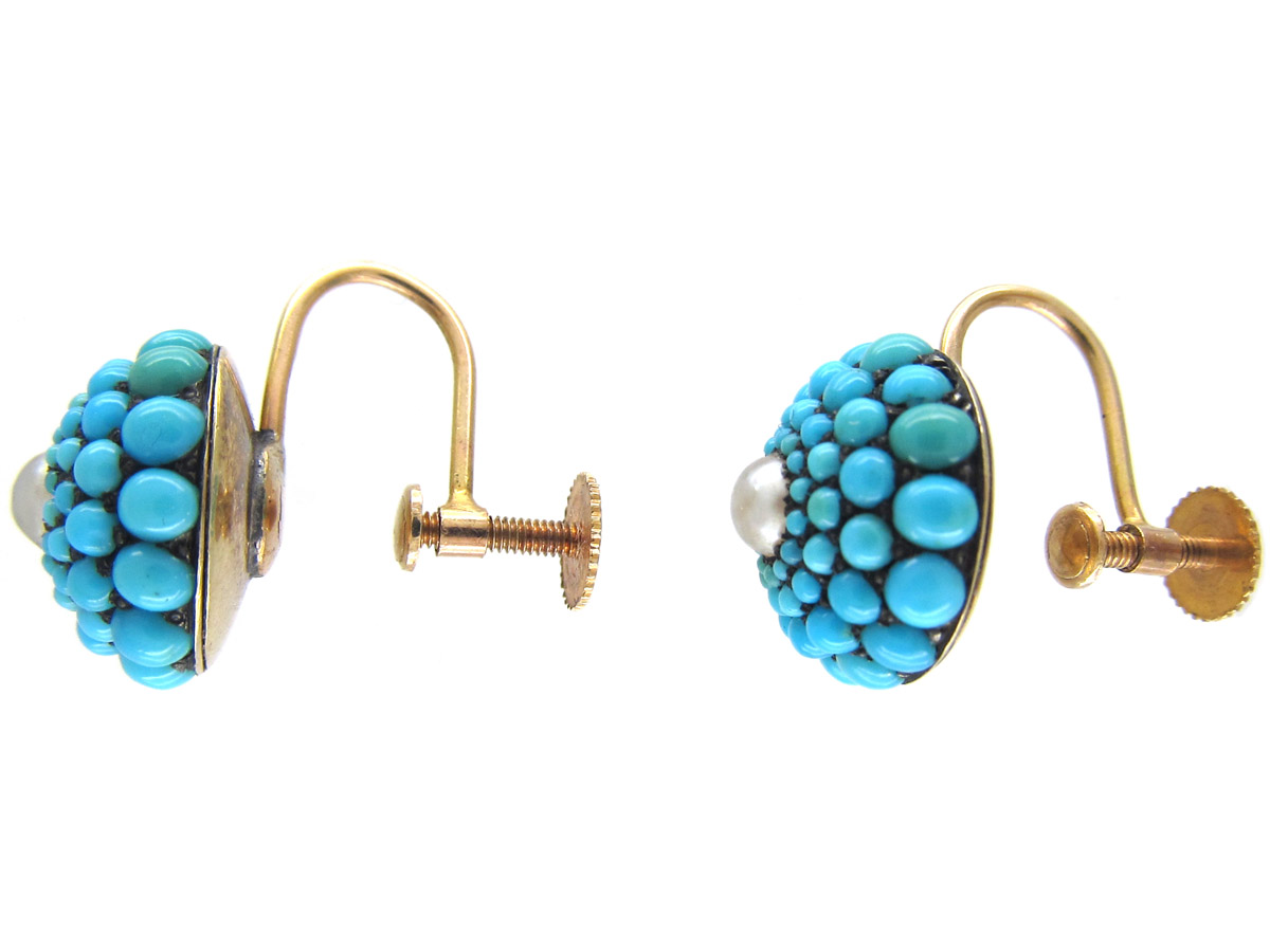 Victorian Turquoise & Pearl Pave Set Round Earrings